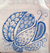 Free Hand Style Tote Blue